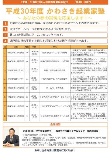 平成30年10月~11月 かわさき起業家塾(全8回)