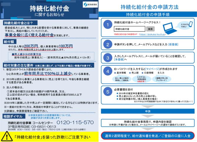 持続化給付金の申請受付開始