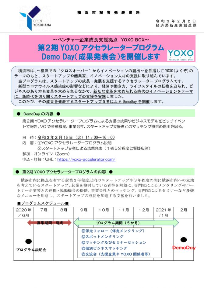 【2/16】第2期YOXOアクセラレータープログラムDemo Day(成果発表会)を開催します