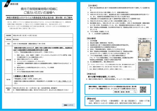 新型コロナウイルス感染症拡大防止協力金(第8弾)について